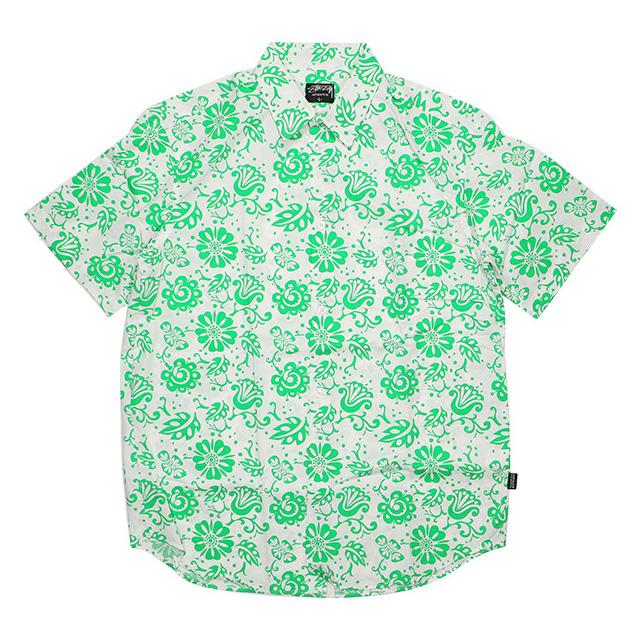 (ステューシー) STUSSY ATOLL PRINTED SHIRT (SS:SHIRT)(TBA-KE) シャツ 半袖 ボタン 国内正規品