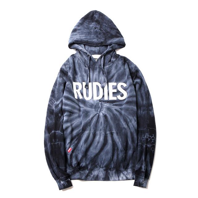 (ルーディーズ) RUDIE'S PHAT TIEDYE HOOD SWEAT (HOODED)(84614-BK×WH) スウェット パーカー プルオーバー 国内正規品