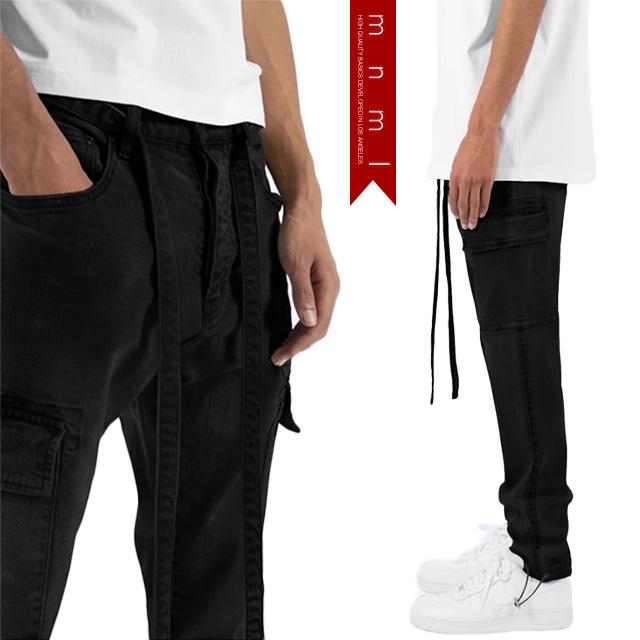 (ミニマル) mnml DENIM CARGO PANTS BLACK (LS:PANTS)(COLOR:BK) ボトムス ロングパンツ ジーンズ デニム ストレッチカーゴ ブラック 国内正規品