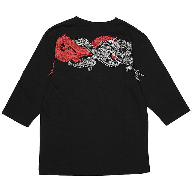 (クロップドヘッズ) CROPPED HEADS 双龍柄 六分袖T (LS:TEE)(1011-93-BK) ロンT 長袖 Tシャツ カットソー 国内正規品