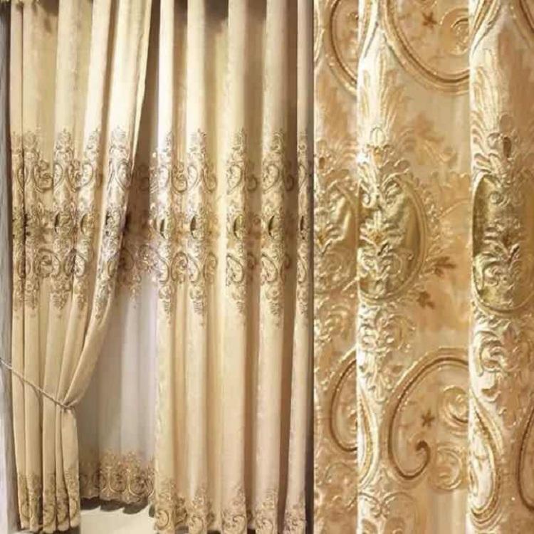 Leyカーテン 刺繍ドレープカーテン、おしゃれ 高級 綺麗 2倍ヒダタイプ、遮光カーテン リビング、寝室、客室に合うタイプ
