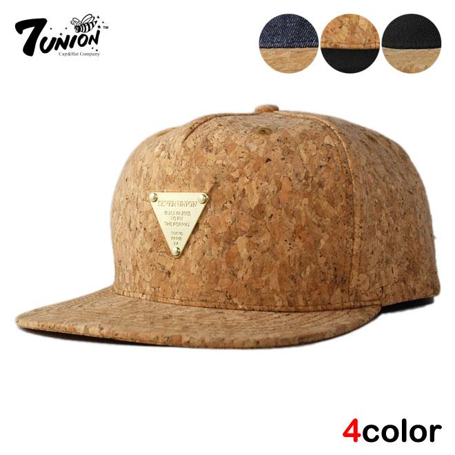 7 UNION seven Union snap back Cap SNAPBACK Cap Hat Cork denim size large  size hats men women 81a5310f964