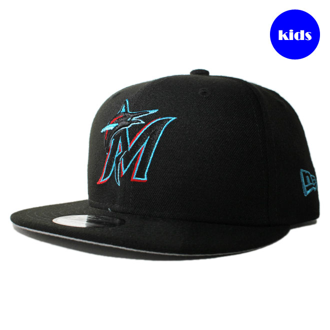 first rate 9e9bf c41e8 New gills snapback cap hat NEW ERA 9fifty kids MLB Miami Marlins adjustable  size  bk ...