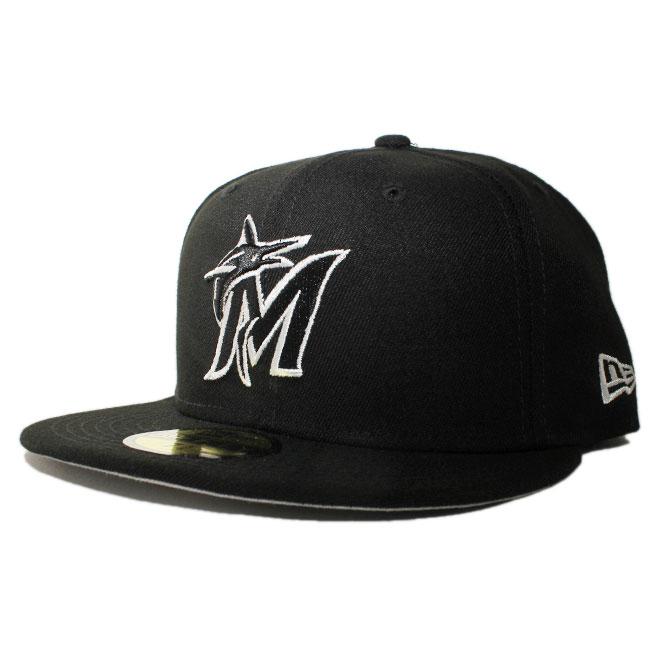 ニューエラ ベースボールキャップ 帽子 NEW ERA 59fifty メンズ レディース MLB マイアミ マーリンズ 6 3/4-8 1/4 [ bk ]