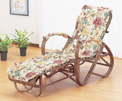 【送料無料】籐 三ツ折寝椅子 ファブリックカバー付[A-111B]