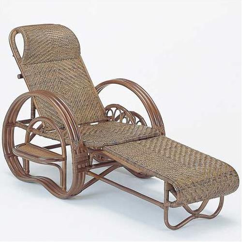 【送料無料】籐 三ツ折寝椅子 ダークブラウン[A-202B]