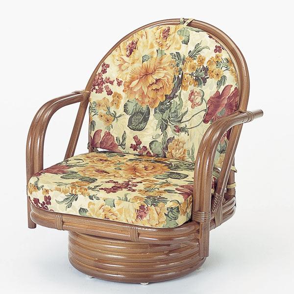 【送料無料】籐 回転座椅子 ミドルタイプ [S-542B]