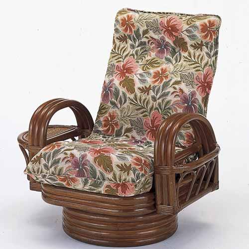 【送料無料】籐 リクライニング回転座椅子 ミドルタイプ[S-752]
