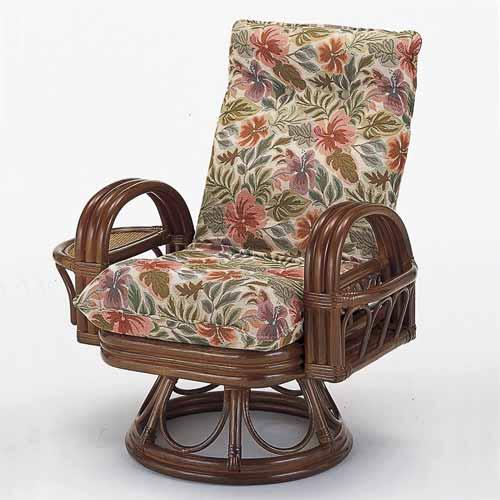 【送料無料】籐 リクライニング回転座椅子 ハイタイプ[S-753]