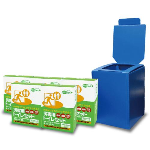 【送料無料】エコワン エコレットプラダントイレセット エコレット10 5箱入 組み立て式簡易トイレ