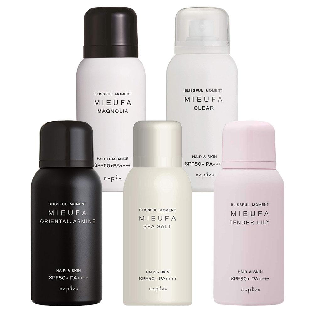 魅力的な4種類の香りと 無香料の全5種類からお選びいただけます ナプラ napla ミーファ ストア フレグランスUVスプレー 80g 1個 着後レビューで 送料無料 髪と肌の UVケアミスト 定形外郵便 国内正規品 PA++++ SPF50 日焼け止め 日やけ止め 5種類