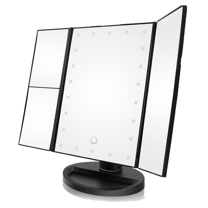 人気の製品 メイク 身支度のお助けに LED照明付き三面鏡 ミラー LED照明付き 折りたたみ卓上鏡 ライトアップ三面鏡 寝室リビングバスルームにも最適 大特価!! 角度調整可能 エレガント 化粧鏡 FAM-SK1706 スタイル