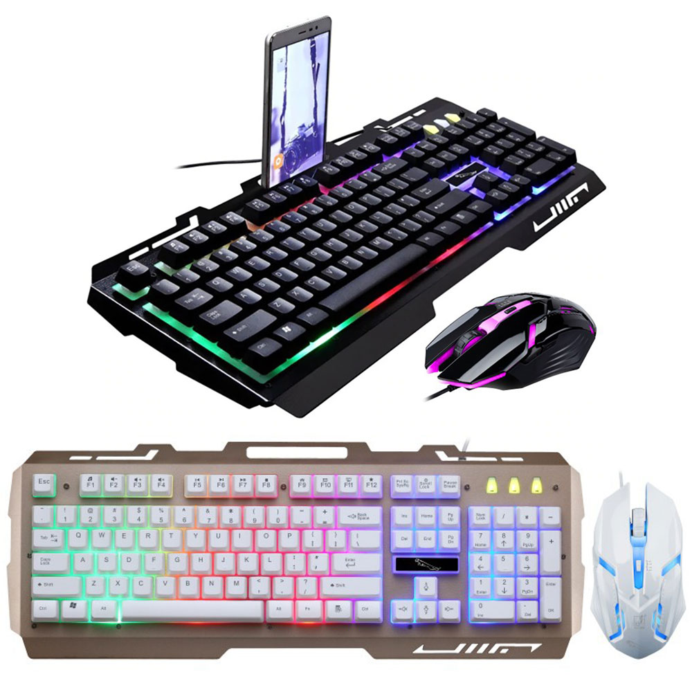 RGBカラーで光るLEDバックライトを搭載したキーボードとマウスのセット 有線ゲーミングキーボード マウスセット US配列 英語配列 104キー USB接続 LEDバックライト付き 光学式マウス 期間限定の激安セール 贈物 FAM-KB-G700 1600 2400 DPI800 1200