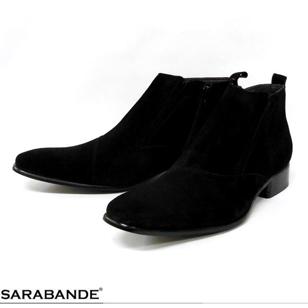 SARABANDE サラバンド 7777 BLS ロングノーズ スワール サイドジップ スエード ブーツ ブラック