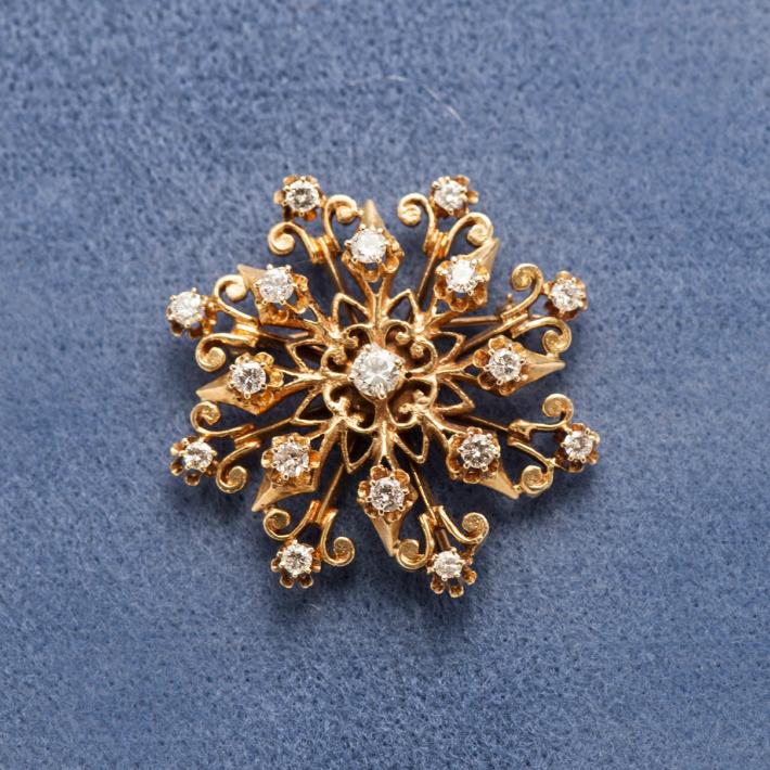 アンティークダイアモンド18kブローチ