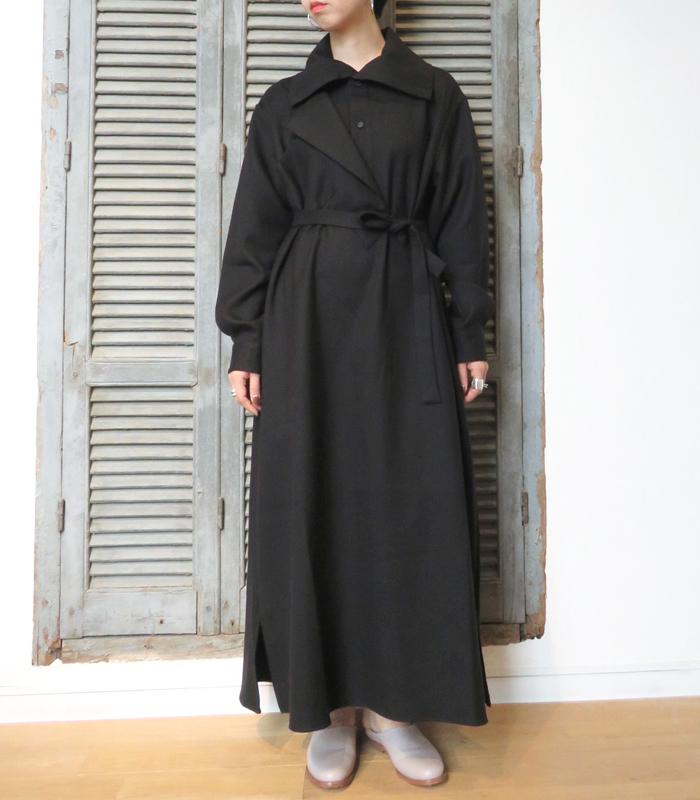 【アウトレット】【送料無料】2018AWCristaSeyaクリスタセヤJapanese Double wool coat dress with maxi collar