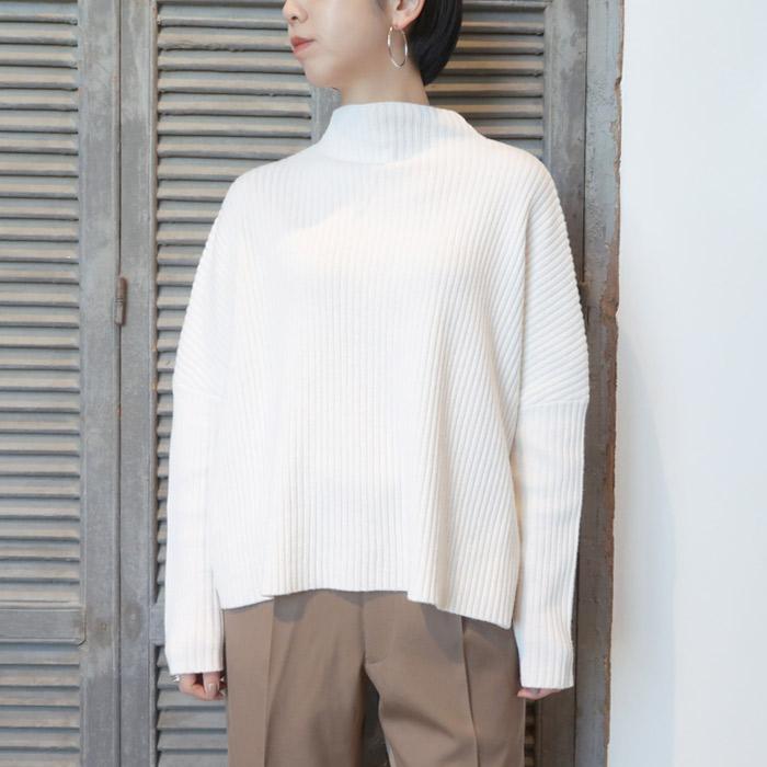 【送料無料】2019AWOYUNAオユーナhigh neck knitted rib pullover