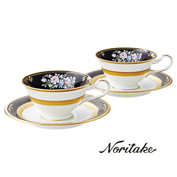 【ノリタケ】≪イブニングマジェスティ≫ティー・コーヒー碗皿ペアセットペア碗皿 内祝い お返し 出産内祝い 結婚お祝い 結婚内祝い 母の日 父の日 誕生日プレゼント コーヒーペアセット 記念品