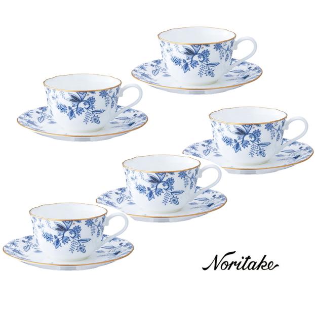 【ノリタケ】ブルーソレンティーノ ティー・コーヒー碗皿5客セット内祝い お返し 出産内祝い 結婚お祝い 結婚内祝い プレゼント 誕生日 コーヒー5客セット