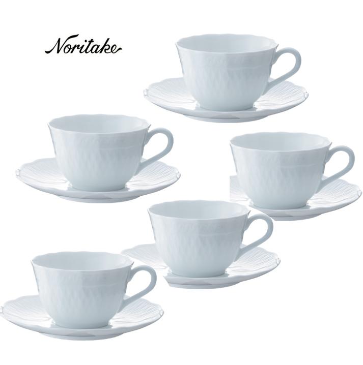 【ノリタケ】≪シェール ブラン ≫ティー・コーヒー碗皿5客セットギフト 出産内祝い 新築内祝い 入学内祝い 結婚内祝い 快気祝 御礼 プレゼント 記念品 記念日 誕生日 母の日 コーヒー5客セット