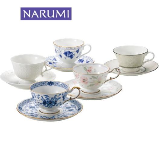 NARUMI【ナルミ】5客アソートセット5客碗皿 内祝い お返し 出産内祝い 結婚お祝い 結婚内祝い プレゼント コーヒー5客セット