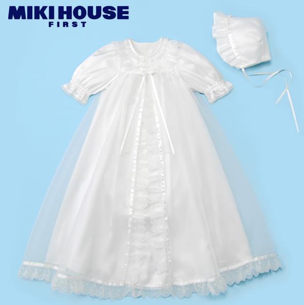 ミキハウスファースト・豪華なサテンとオーガンジーのセレモ二ードレス ミキハウスのベビー服 ベビー肌着 ご出産準備に 出産内祝い 出産お祝い 内祝い プレゼント