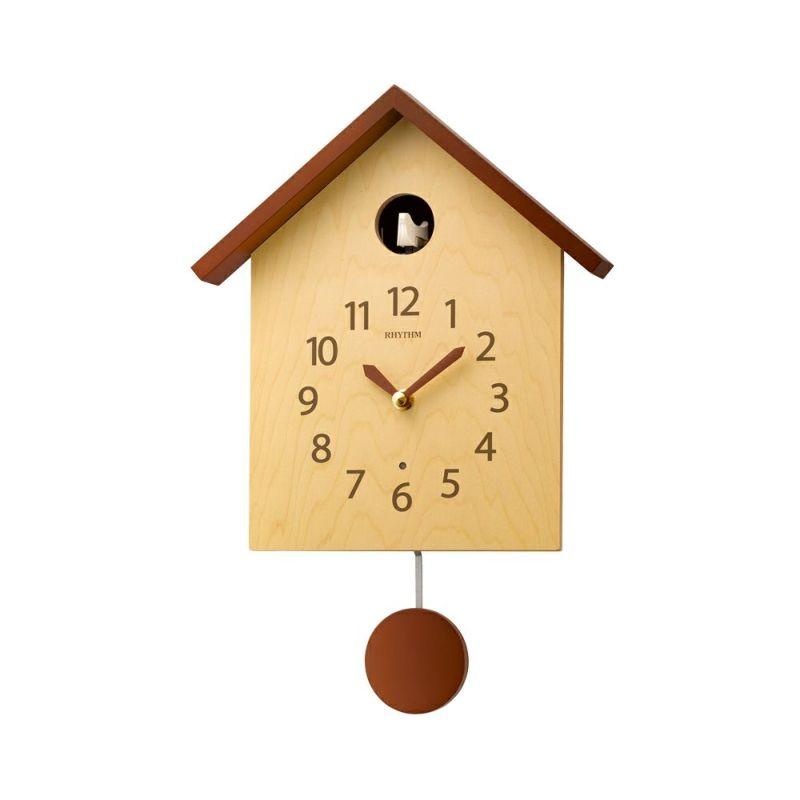 ふいごのカッコー時計です 部屋に合わせやすいカラーリングで シンプルなデザインにまとめました リズム 捧呈 RHYTHM 鳩時計 セール カッコースタイル145 おしゃれ ふいご式 クォーツ クオーツ ハト 鳥 カッコ― シンプル 送料無料 オフィス 寝室 ブラウン 秒針なし 自宅 ベッド 壁 ふいご時報 振子 木 ベージュ 掛け時計 振り子 リビング