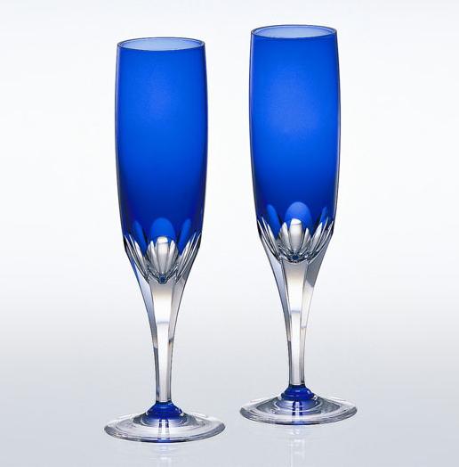 カガミクリスタルロイヤルブルー ペアフルートシャンパンギフト 出産内祝い 新築内祝い 入学内祝い 結婚内祝い 快気祝 御礼 プレゼント 記念品 誕生日 母の日