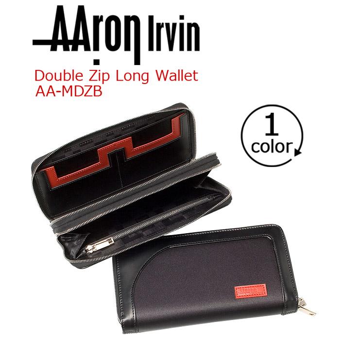≪ポイント5倍≫ AAron Irvin アーロン・アーヴィン 財布 長財布 Double Zip Bi-Fold 長サイフ ロングウォレット お財布 ラウンドファスナー ラウンドジップ メンズ 通勤 おしゃれ 人気 レザー 革 仕事 社会人 大人 ビジネス 黒 ブラック AA-MDZB