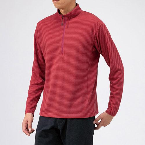 ミズノ MIZUNO ブレスサーモ ミニボーダージップネックシャツ メンズ / カーディナルレッド品番:B2MA9569