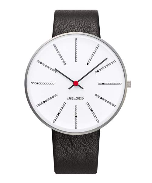 ARNE JACOBSEN Bankers Watch Lether 40mm(40mm ホワイト×ブラック)(ケース53102)(ベルト2001)
