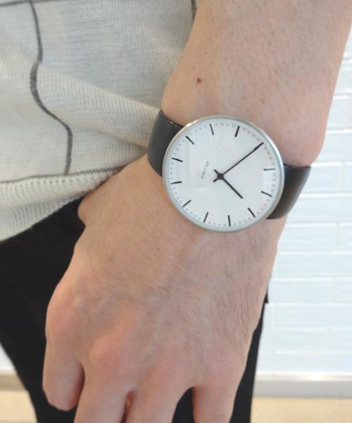 ARNE JACOBSEN City Hall Watch Leather 40mm(40mm ホワイト×ブラック)(ケース53202)(ベルト2001)
