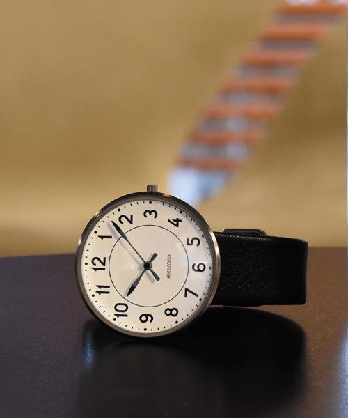 ARNE JACOBSEN Station Watch Leather 34mm(34mm ホワイト×ブラック)(ケース53401)(ベルト1601)