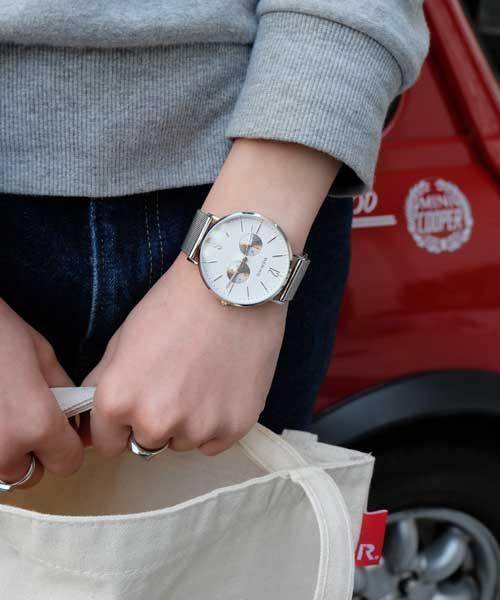 BERING Unisex Changes Mesh&Leather(14240-604-w/meshstrap ホワイト×シルバー×ネイビー)
