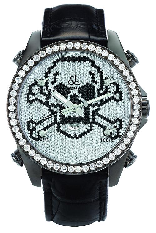 JACOB&Co. ジェイコブ 【日本正規輸入品 保証書付】Skull Five Time Zone Black スカル・ファイブタイムゾーン ブラック