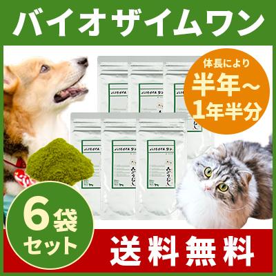 バイオザイムワン 6袋まとめ買いセット (体長により半年~1年分) 犬・猫用 みどりむしサプリメント 【送料無料】