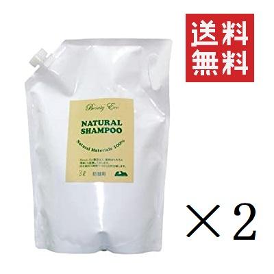 ビューティーエコ BEAUTY ECO 自然のシャンプー 詰替用 3L×2個 大容量 業務用 レフィル 天然植物性 泡立ち まとめ買い