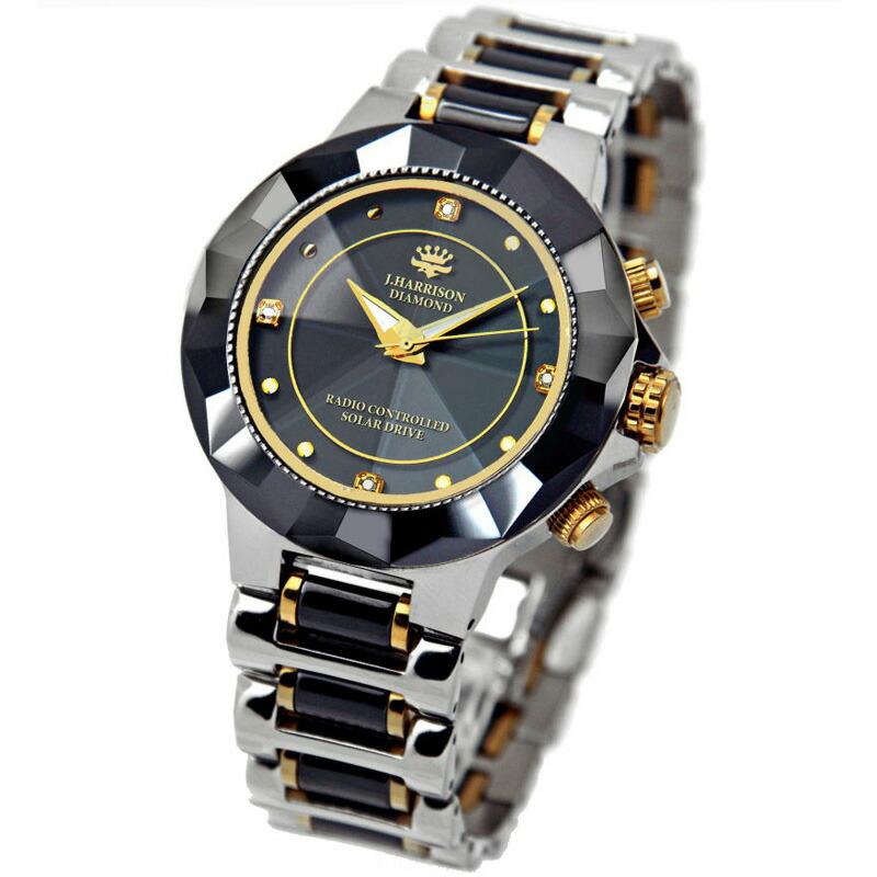 JOHN HARRISON 4石天然ダイヤモンド付 ソーラー電波腕時計 紳士用:JH-024MBB腕時計 JOHN HARRISON 4石天然ダイヤモンド付 ソーラー電波腕時計 ジョンハリソン ジョン・ハリソン ソーラー腕時計 電波時計