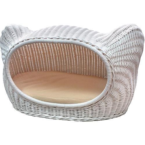 ラタンキティハウス ホワイト SC-17Wペットグッズ ラタンキティハウス シンシアジャパン 猫用ベッド ねこ用ハウス キャットハウス キティハウス 籐家具(ラタン) 籐ペットハウス 猫 ネコ