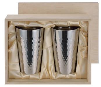 【送料無料!!(一部地域除く)】ASAHI[アサヒ] 食楽工房 チタン2重カップ 2PCセット 桐箱入 TW-2(銅製品・本錫・お酒・ビール・ギフト・お祝い・贈り物・カップ・グラス・コップ・杯・贈答品)