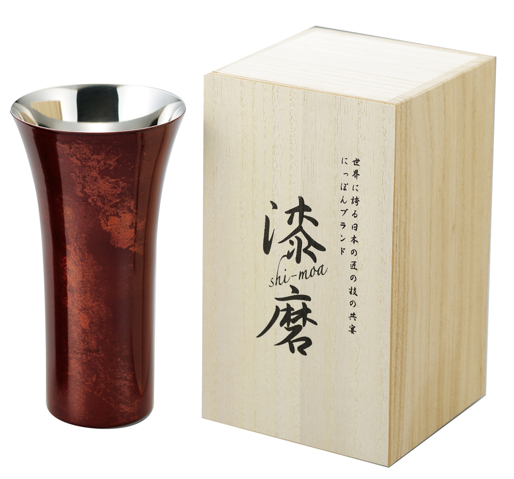 ASAHI[アサヒ] 漆磨 流しシングルカップL 赤彩 380ml SCS-L502 (銅製品・お酒・ビール・ビアタンブラー・ビアカップ・日本酒・焼酎・ギフト・お祝い・贈り物・カップ・グラス・コップ・杯・贈答品)