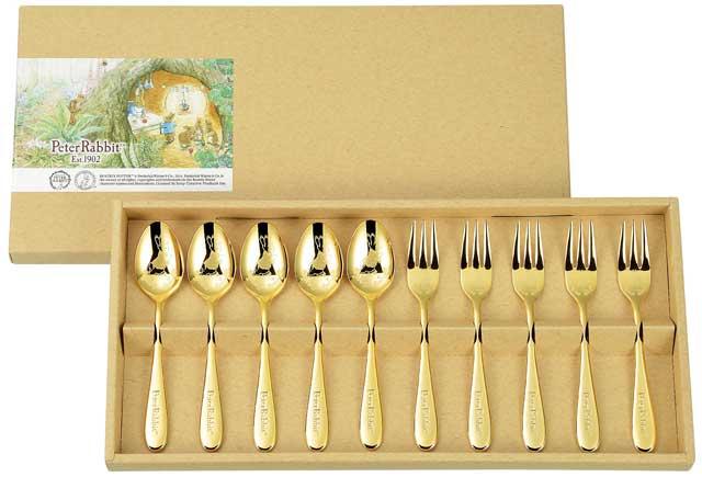 *ASAHI[アサヒ] ピーターラビット ティースプーン・ケーキフォーク(金仕上)10本セット PR-0253 (カトラリーセット・スプーンセット・フォークセット・ギフト・贈り物・贈答品)