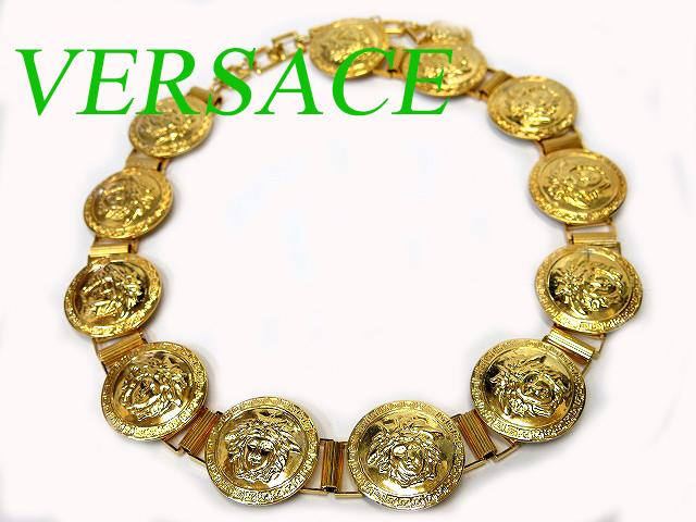 美品 ヴェルサーチ ゴールド ベルト ネックレス メデューサ0065【中古】VERSACE ヴィンテージ アクセサリー