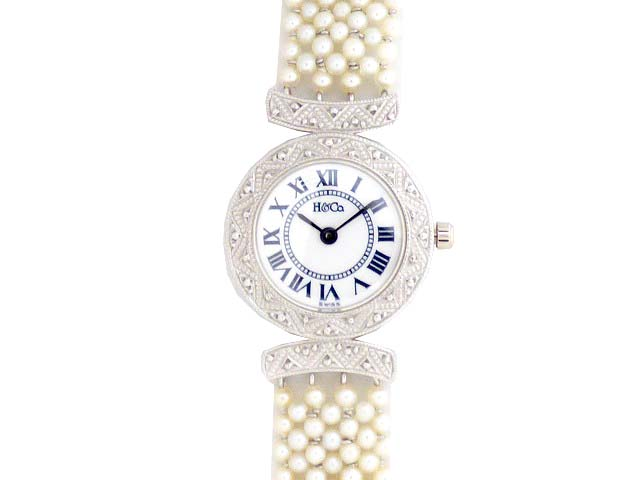 HEIWADO peace Chapel Pt950 solid Pearl Art Deco quartz watch 0362 ladies antique watch