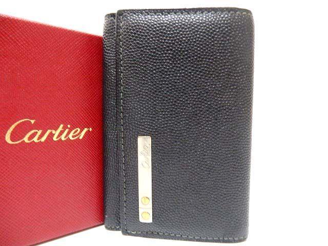 美品 カルティエ カボション レザー 6連キーケース メンズ 0398【中古】Cartier 黒