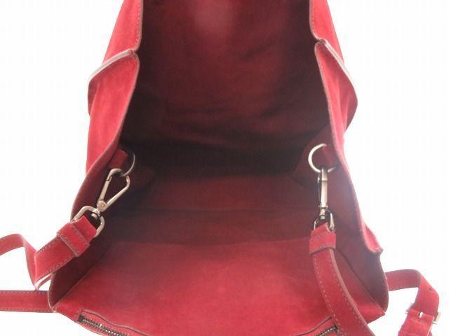 美品普拉达皮革2way肩膀大手提包2VG087人葡萄红三角形铭牌0052PRADA