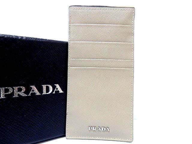 美品 プラダ サフィアーノレザー カードケース グレー 0240【中古】PRADA
