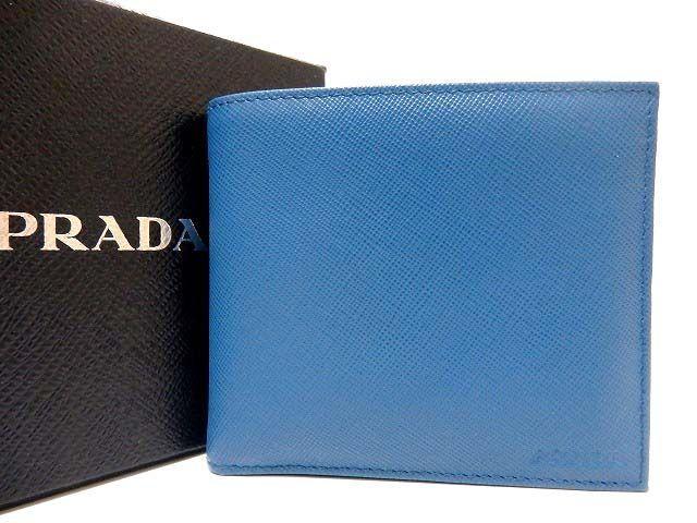 未使用 プラダ サフィアーノレザー 2つ折り財布 札入れ 青 0242【中古】PRADA