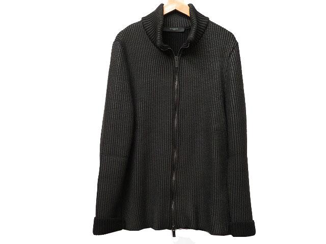 美品 ジバンシィ コーティングニットジャケット メンズ 黒 サイズL 0029【中古】GIVENCHY