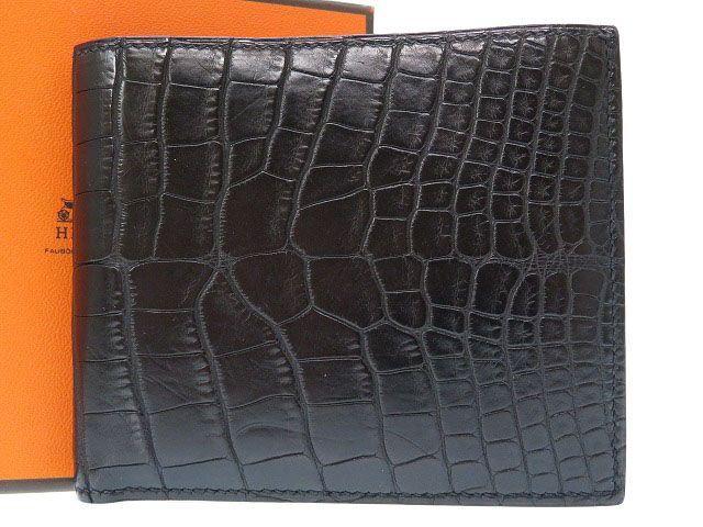 美品 エルメス MC2コペルニクス アリゲーターマット 2つ折り財布 札入れ 黒 ブラック0114【中古】HERMES